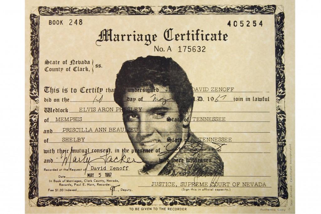 Elvis Presley Las Vegas Wedding Certificate