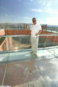 Oscar Ortiz at the Grand Canyon West Rim Skywalk